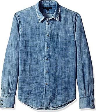 John Varvatos Mens Indigo Double Weave Window PANE Long Sleeve Button, S