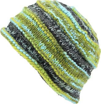 Loud Elephant Chunky Ribbed Wool Knit Beanie Hat with Space Dye Design - Green & Blue
