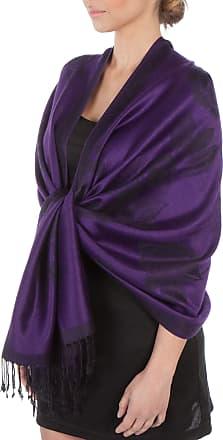 Sakkas FUPashRose06AG Sakkas Lightweight Two Tone Rose Floral Design Pashmina Fringe Scarf/Stole/Wrap - Purple/Black