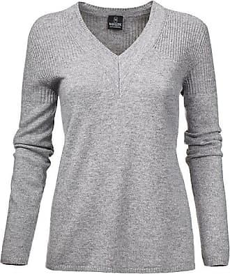 Madeleine Kaschmir Kaschmir-Pullover mit edlen Details Damen grau-melange / grau
