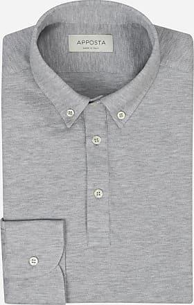 Apposta Light grey button down long sleeve Polo shirt in piqué cotton