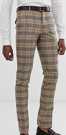 Twisted Tailor Pantaloni da abito super skinny a quadri heritage-Cuoio