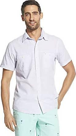 IZOD Mens Big and Tall Saltwater Short Sleeve Windowpane Button Down Shirt