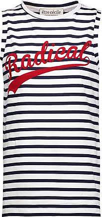 être cécile Être Cécile Woman Radical Flocked Striped Cotton-jersey Tank Midnight Blue Size S