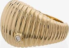 Yvonne Léon Womens 9k Yellow Gold Ridged Diamond Ring