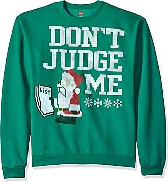 Hanes Mens Ugly Christmas Sweatshirt,Emerald Night Dont Judge Me,Large