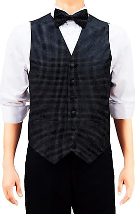 Retreez Mens Check Textured Woven Mens Suit Waistcoat Set with Matching Tie, Pre-Tied Bow Tie, Pocket Square, 4 Pieces Gift Set as a, Birthday Gift - Black, E