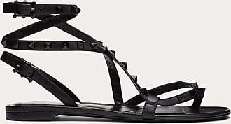 Valentino Garavani Valentino Garavani Rockstud Flair Nappa Leather Flat Thong Sandal Women Black Lambskin 100% 36