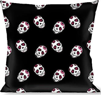 Buckle Down Pillow Decorative Throw Staggered Sugar Skulls Black White Pink