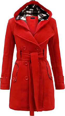 Noroze Womens Long Sleeve Belted Button Fleece Coat Size 8 10 12 14 16 18 20 22 24 26 Red