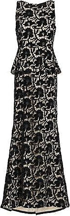 Alice & Olivia Alice + Olivia Woman Open-back Macramé Lace Peplum Gown Black Size 2