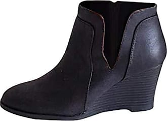 Damen Flach Winter Komfort Niedrig Keilabsatz Reißverschluss Smart Stiefeletten