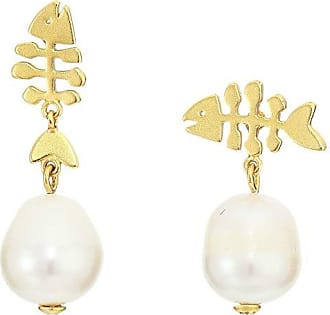 2d2b4de8b Tory Burch Fish and Pearl Drop Earrings (Vintage Gold/Pearl) Earring