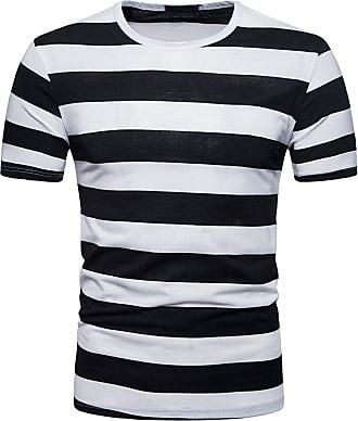 NPRADLA NPRALDA Mens Summer Fashion Stripe Round Neck Pullover T-Shirt Top Blouse Polo Shirts