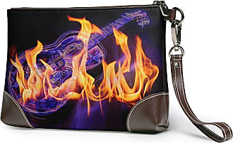 GLGFashion Womens Leather Wristlet Clutch Wallet Guitar Fire Black Storage Purse With Strap Zipper Pouch