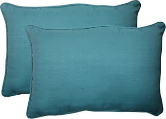 Pillow Perfect Outdoor Forsyth Corded Oversized Rectangular Throw Pillow, Turquoise, Set of 2