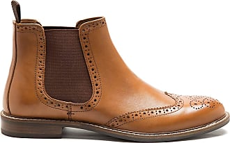 Redtape Mens Downton Side Gusset Chelsea Formal Brogue Boot Tan