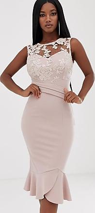Lipsy Rosa midiklänning med paljetter och utsvängd nederkant
