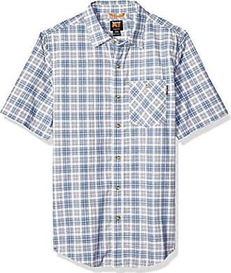 Timberland Mens Plotline Short-Sleeve Work Shirt, Vintage Indigo Plaid, M