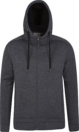 Mountain Warehouse Nevis Mens Fur Lined Hoodie - Soft Fleece Sweatshirt, Warm, Comfortable, Adjustable Hood & Front Pockets Zip Up Hood - for Winter Walking & Jogging Bl