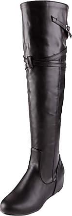 RAZAMAZA Women Classic Wedge Heel Long Boots Half Zipper Over Knee Autumn Boots Mid Heel Shoes Black Size 42 Asian