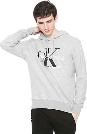 Calvin Klein Jeans Moletom Fechado Calvin Klein Jeans Logo Cinza