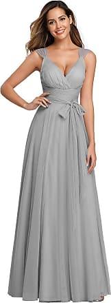 Ever-pretty Womens Elegant V Neck Empire Waist Floor Length Tulle A Line Formal Evening Gowns Dresses Grey 26UK