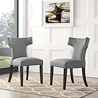 ModWay Modway Curve Mid-Century Modern Upholstered Fabric Two Dining Chair Set With Nailhead Trim In Gray