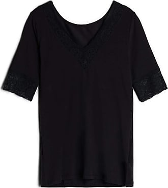 intimissimi Womens Short-Sleeve Modal Top with Lace Inserts