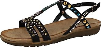 Cushion-Walk Ladies Open Toe Beaded T Bar Flat Sling Back Gladiator Sandals Size 3-8 (UK 5/EU 38, Black)