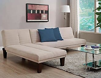 Dorel Home Products DHP Dillan Convertible Futon Couch Bed with Microfiber Upholstery and Wood Legs - Tan