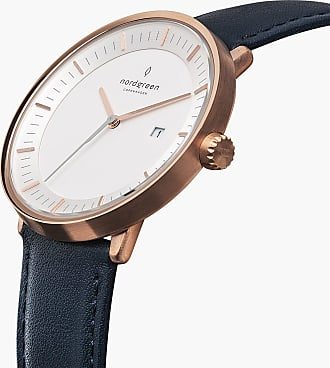 Nordgreen Philosopher - Rose Gold | Navy Blue Leather - 40mm / Rose Gold