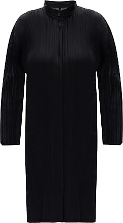 Issey Miyake Pleated Dress With Band Collar Womens Black