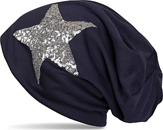 styleBREAKER Star Sequined Slouch Beanie, Slouch longbeanie, Silky, Women 04024067, Colour:Midnight-Blue/Dark Blue