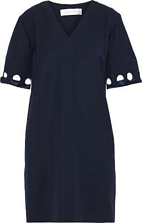 Victoria Beckham Victoria, Victoria Beckham Woman Whipstitched Wool-twill Mini Dress Midnight Blue Size 12
