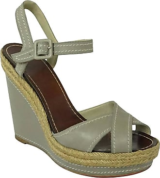 0d2b513c05a9 Christian Louboutin Taupe Leather Wedges With Ankle Strap - 40