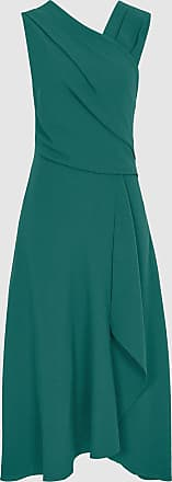 Reiss Marling - Wrap Front Midi Dress in Teal, Womens, Size 16