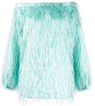Rotate Gloria Feather off-the-shoulder dress - Blue