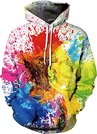 Ocean Plus Mens Hoodie 3D Hoodie Wolf Lion Print Hoodie Diverse Sweatshirt Fantasy Pullover (XXL/3XL (Chest: 49-57 inches), Multi-Colored Ink)