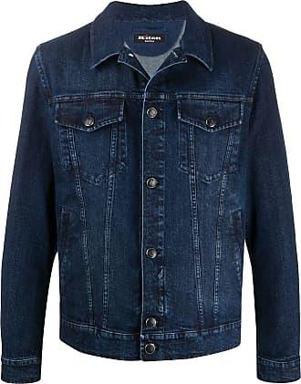 Kiton embroidered logo denim jacket - Blue