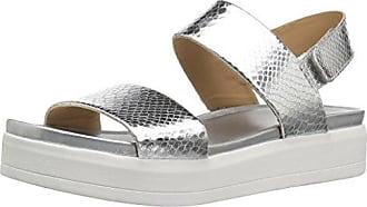 Franco Sarto Womens Kenan Wedge Sandal, Silver, 9 M US
