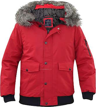 True Face Men Tunstall Parka Jacket Red Small