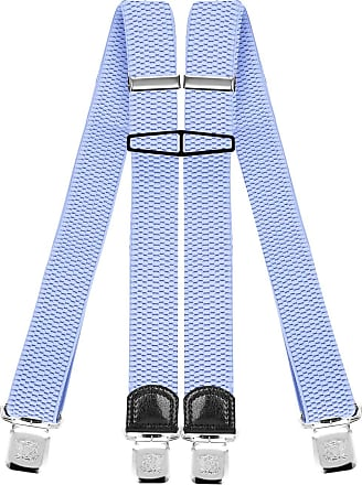 Decalen Mens Braces with Very Strong Clips Heavy Duty Suspenders One Size Fits All Wide Adjustable and Elastic X Style (Baby Blue)