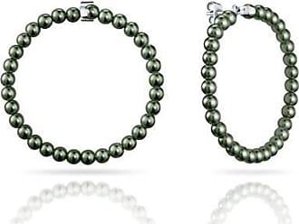 Misaki Boucles doreilles grandes créoles Bliss de perles kaki