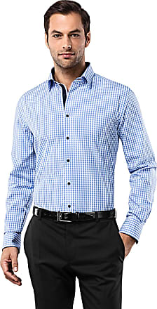 Vincenzo Boretti Mens Shirt Slim-fit Fitted Kent Collar Classic Design Check Pattern 100% Cotton Non-Iron Long-Sleeve Designer Shirts for Men Formal Office Wedding Ide