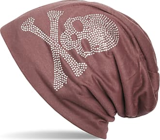 styleBREAKER Classic Beanie hat with Skull Rhinestone Detail, Unisex 04024034, Colour:Dark Old Rose (Red Brown), Material:Light