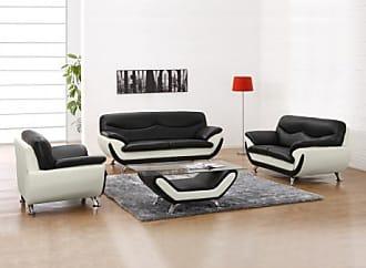 Vente-unique.ch Couchgarnitur 3+2+1 Indiz - Schwarz & Weiß