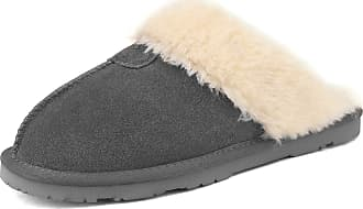 Dream Pairs Womens Faux Fur Slippers Ladies Slip On Suede Cozy Indoor Outdoor Winter House Shoes Sofie-05 Grey Size 9.5-10 US/ 7.5-8 UK