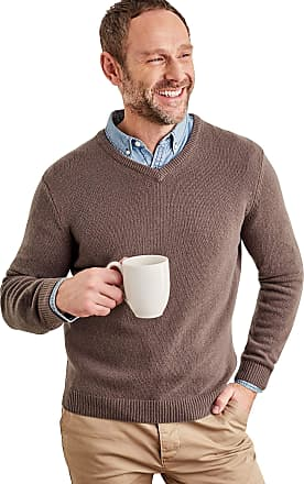 WoolOvers Mens Lambswool V-Neck Jumper Clay, M