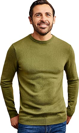 WoolOvers Mens Cashmere and Merino Crew Neck Knitted Jumper Sweet Pea, L